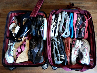 sneakers suitcase